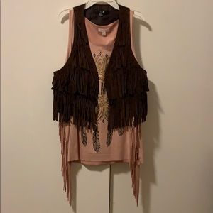 Jackets & Blazers - Fringed vest and tank top BUNDLE